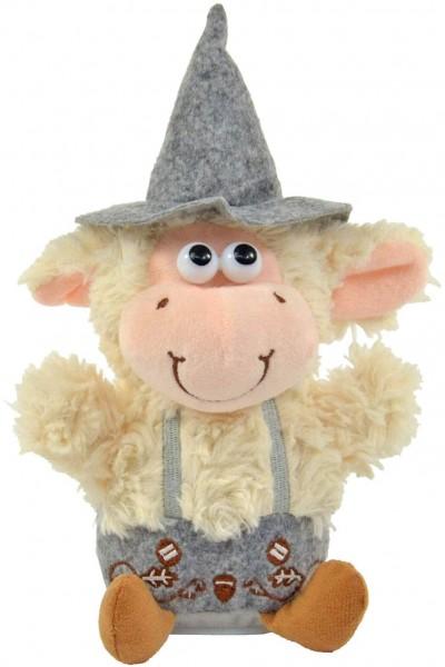 Kögler 75954 - Labertier Schaf Willy mit Tracht, ca. 25,5 cm groß, nachsprechendes Plüschtier mit Au