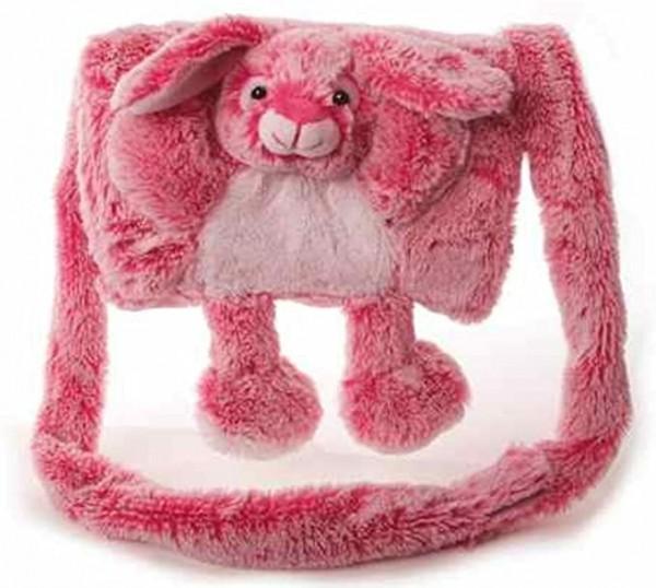 Inware 7610 - Muff Hase, für Kinder, weich und kuschelig, pink/weiß