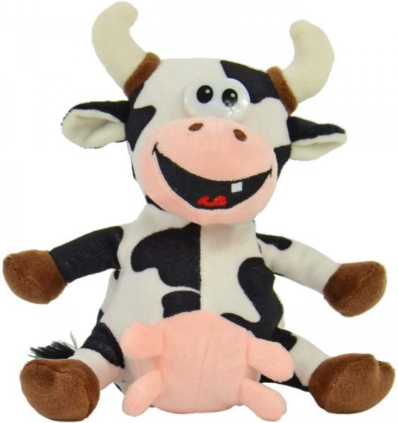 Kögler 75910 - Labertier Kuh Elsa aus den Hösti Comics, ca. 18 cm groß, nachsprechendes Plüschtier m